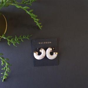 NWT Halogen Chunky Resin Earrings Small Hoops
